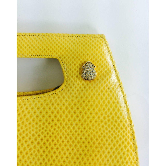 Judith Leiber Yellow Karung Structured Handle Clutch Handbag For Sale In West Palm - Image 6 of 10