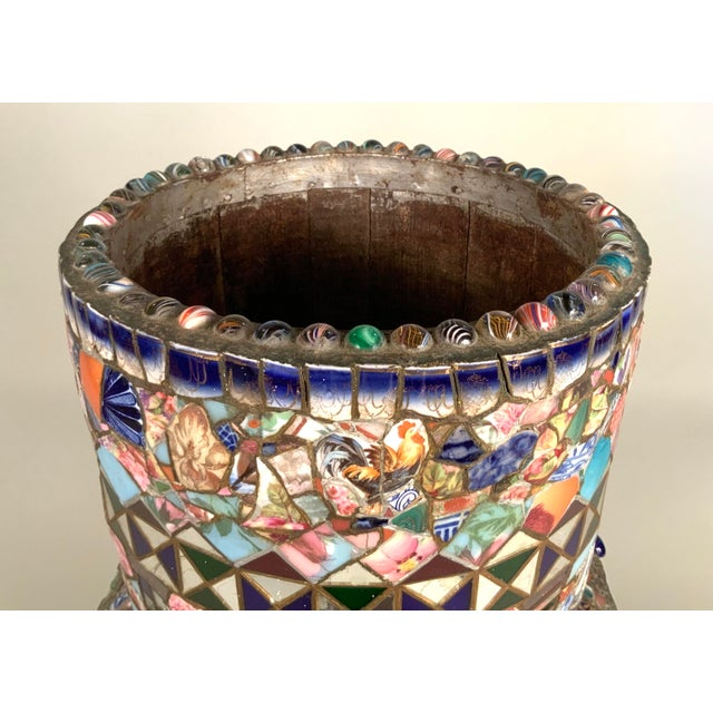 Antique 1920s Folk Art Memory Mosaic Plant Stand For Sale In New York - Image 6 of 13