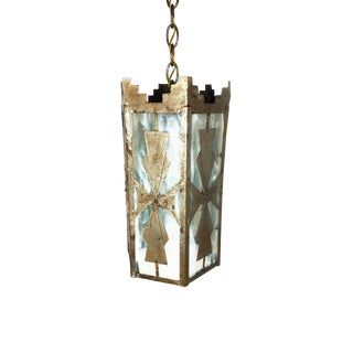 1920s Art Deco Aluminum Plated Brass and Opaline Glass Pendant Light For Sale