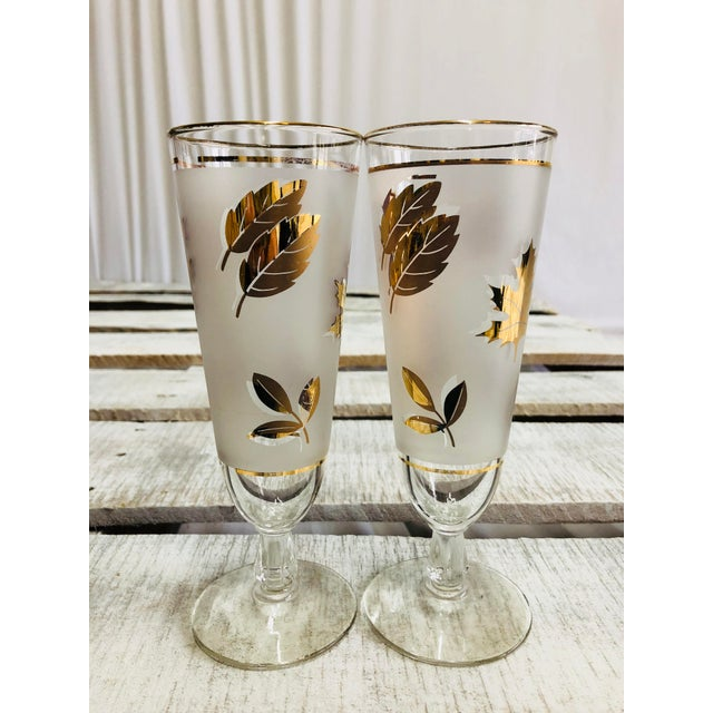 Glass Vintage Frosted Gold Leaf Pilsner Glasses - A Pair For Sale - Image 7 of 7
