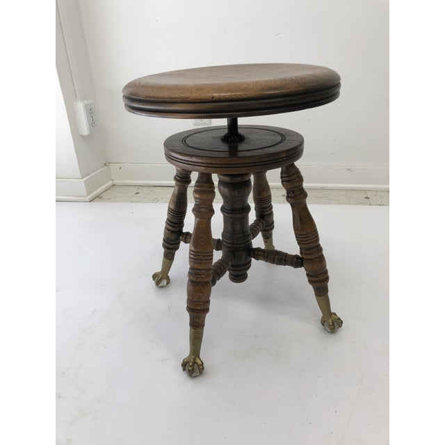 American Antique Swivel Wood Piano Stool With Ball & Claw Feet For Sale - Image 3 of 13