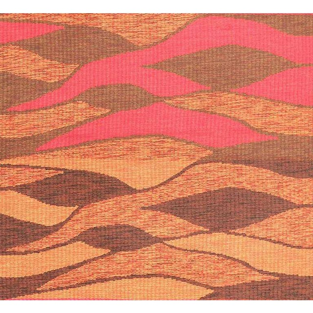 Vintage Swedish Double Sided Rug, Origin: Sweden, Circa: Mid- 20th Century This brightly-colored vintage rug displays...
