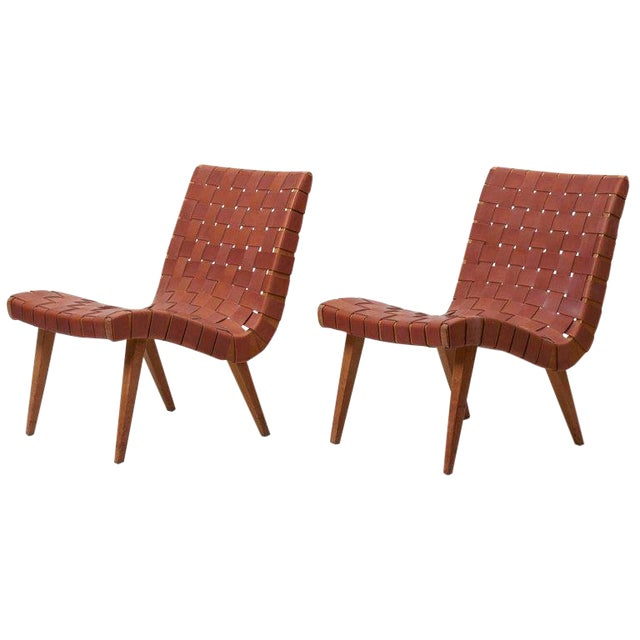 Pair of Early Jens Risom 654W Lounge Chairs by Knoll with New Leather Webbing For Sale