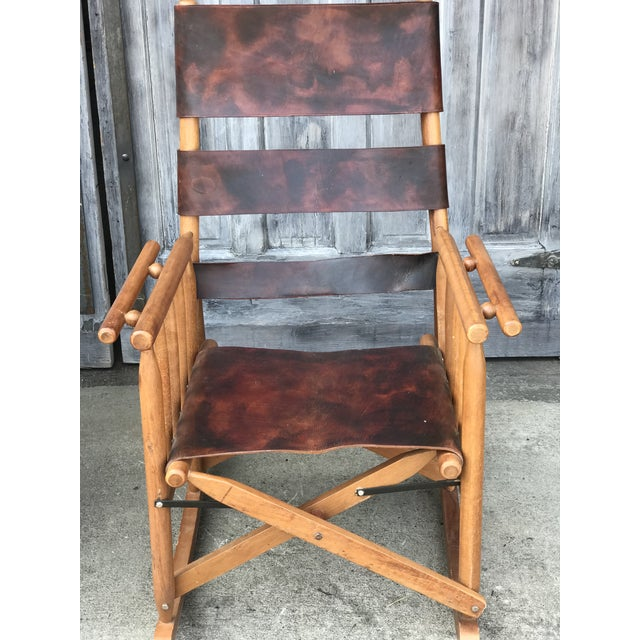 Campaign Campaign Style Folding Leather Rockers - a Pair For Sale - Image 3 of 8