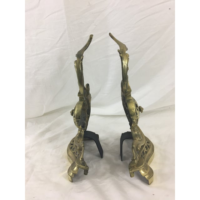 19th Century French Napoleon III Bronze Andirons - a Pair For Sale - Image 4 of 10