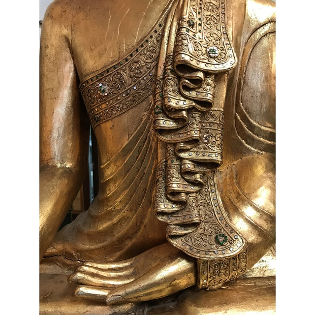 Antique Hand Carved Wood & Gold Buddha For Sale - Image 4 of 5