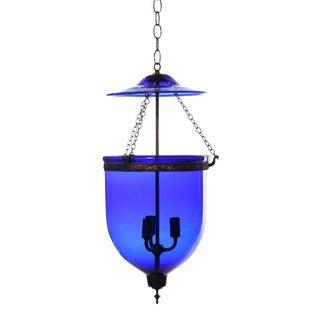 Vintage Large Deep Indigo Blue Glass Bell Jar Pendant Light For Sale