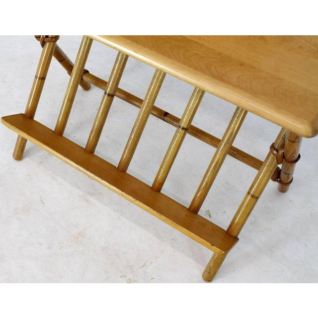 Pair of Faux Burnt Bamboo X-Base Rectangular Side End Tables With Magazine Rack For Sale In New York - Image 6 of 12