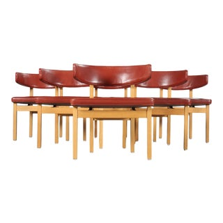 Mid-Century Modern Danish Borge Mogensen Conference Chairs - Set of 6 For Sale
