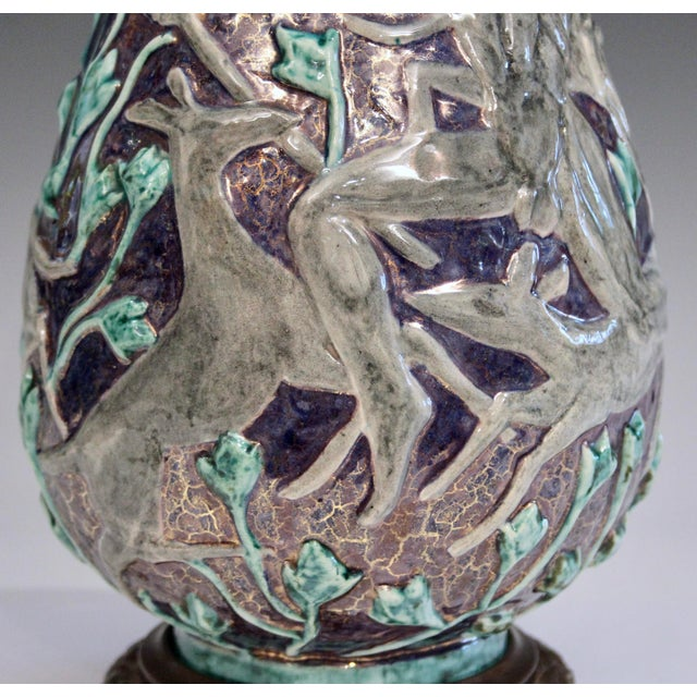 Vintage 1920s Jean Mayodon French Art Deco Gilt Pottery Vase Lamp For Sale - Image 9 of 13