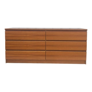 Vintage Teak Six Drawer Dresser For Sale