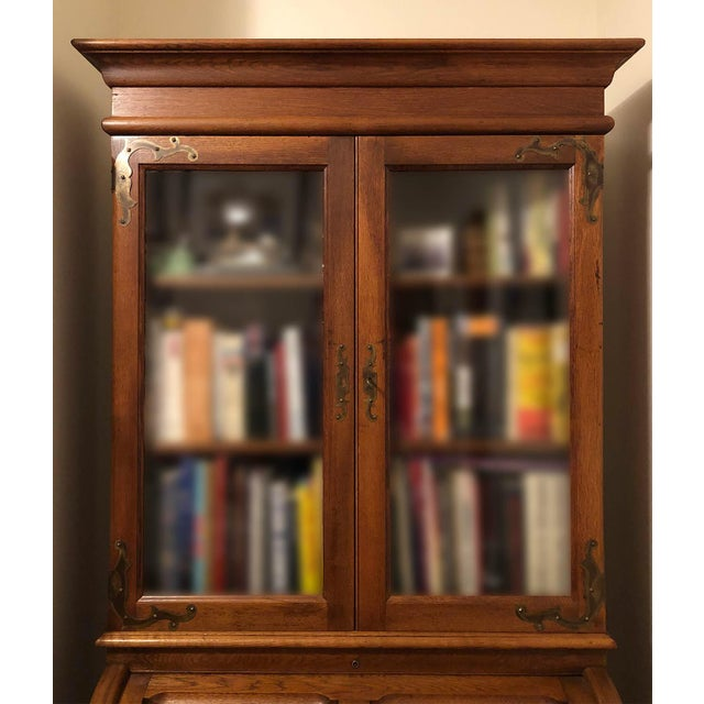 1900 - 1909 Antique Victorian Solid Oak Cylinder Roll Top Secretary Desk and Bookcase For Sale - Image 5 of 13