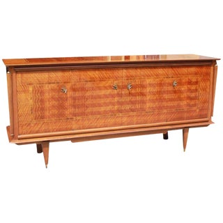Classic French Art Deco Light Macassar Ebony with Rosewood Sideboard, Circa 1940s For Sale