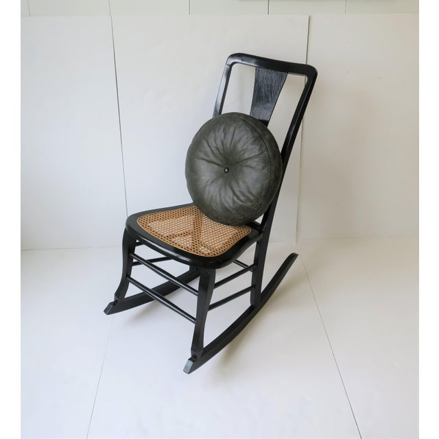 Vintage Mid Century Black Lacquer and Cane Rocking Chair For Sale - Image 9 of 13