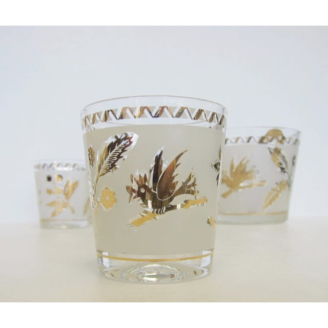 Vintage Gold Leaf Ice Bucket and 4 Rocks Glasses - Image 5 of 5