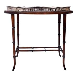 Regency Faux Bamboo Walnut & Silver Plate Tray Table For Sale