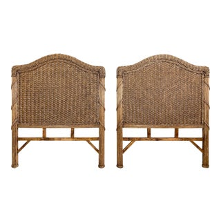 Vintage Boho Chic Woven Rattan Twin Headboards - a Pair For Sale