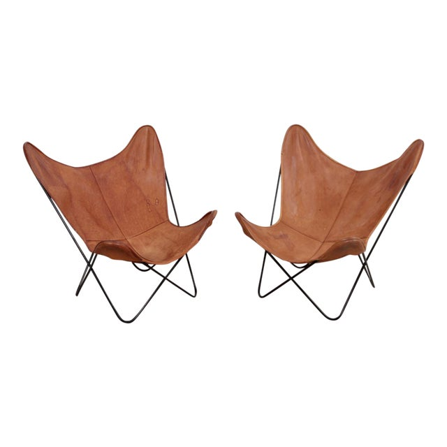 Rare Matched Pair of Ferrari Hardoy Butterfly Chairs for Knoll For Sale