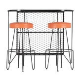 Image of Frederick Weinberg, Restored Three-Piece Wrought Iron Bar and Stools, 1950s For Sale