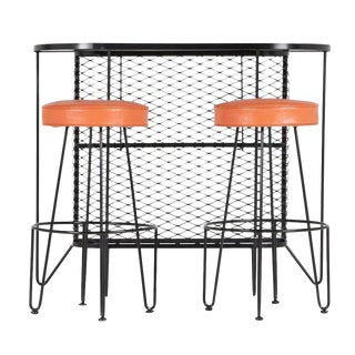 Frederick Weinberg, Restored Three-Piece Wrought Iron Bar and Stools, 1950s For Sale
