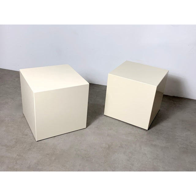 1970s Modern Lacquered White Cube Side Tables- A Pair For Sale In Detroit - Image 6 of 11