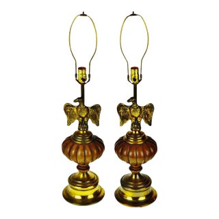 Vintage Brass Eagle Table Lamps - a Pair For Sale