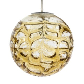 Vintage Topaz Patterned Glass Sphere Pendant Light For Sale