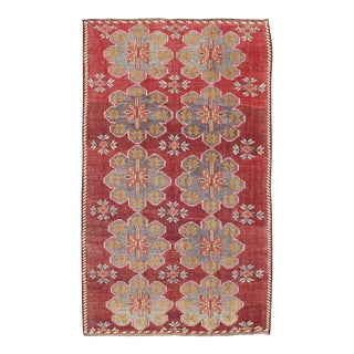 Keivan Woven Arts Vintage Turkish Embroidered Kilim Rug in Wine Red, Steel Blue, Pink For Sale