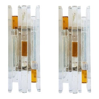 1970s Mid-Century Modern Geometric Poliarte Style Murano Glass Sconces - a Pair For Sale