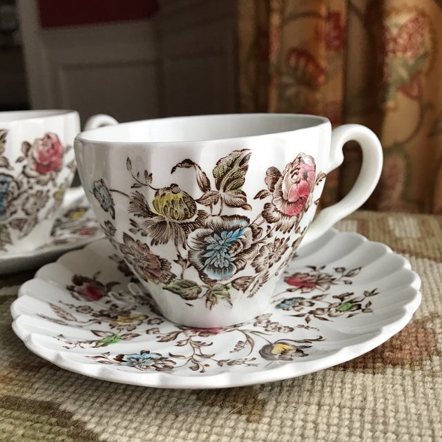 Ceramic 4 Vintage English Ironstone Cups & Saucers - 8 Pieces For Sale - Image 7 of 9