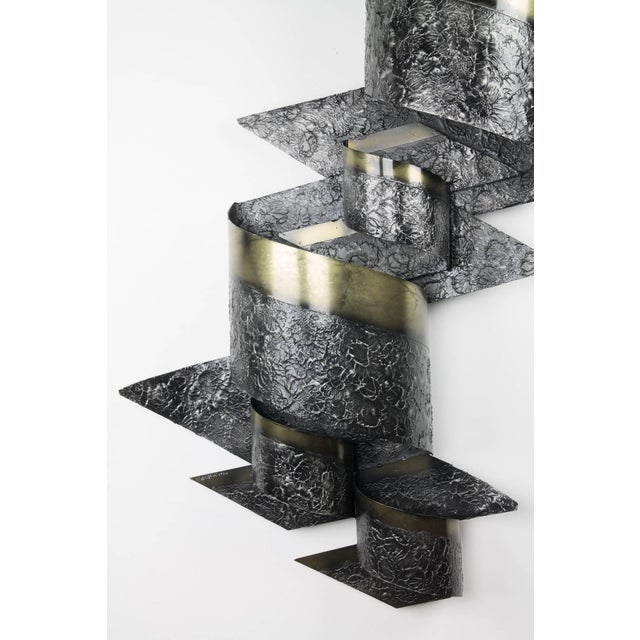 Brutalist C. Jeré Steel and Brass Wall Sculpture for Artisan House For Sale - Image 3 of 7