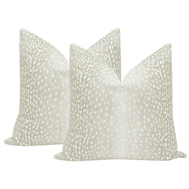 2010s Cashmere Antelope Linen Print Pillows - a Pair For Sale - Image 5 of 5