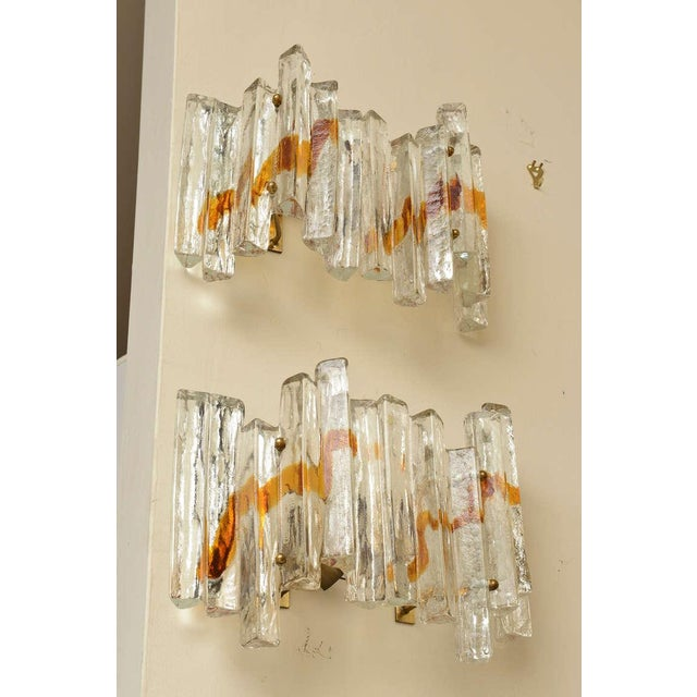 "Pair of Venini Murano Glass Mazzega Sculptural ""Staggered"" Pendant Sconces - Image 3 of 10"
