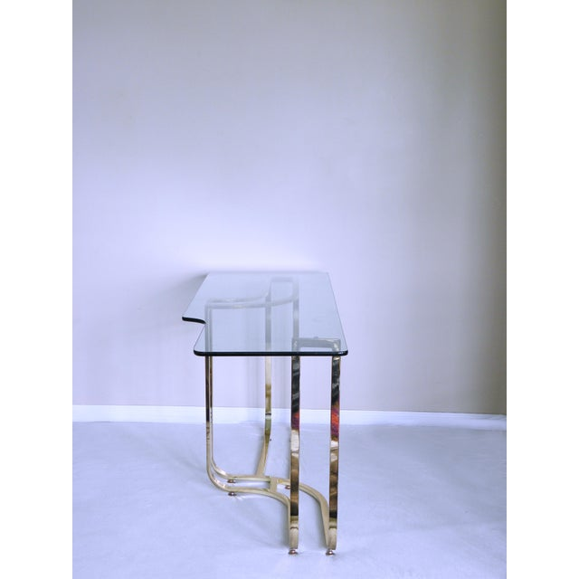 Art Deco 1980s Hollywood Regency Sculptural Brass Console Table For Sale - Image 3 of 7