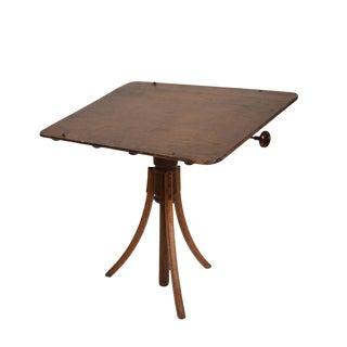 Antique Decorative Oak Adjustable Artist Drafting Table For Sale