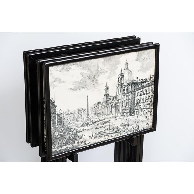 Wood Folding Tray Tables Set With Scenes From Rome, Italy in Black & White, Set -4 For Sale - Image 7 of 10