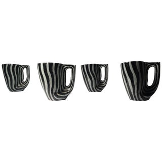 Midcentury Italian Zebra Pattern Ceramic Cups Attributed to Raymor or Bitossi For Sale