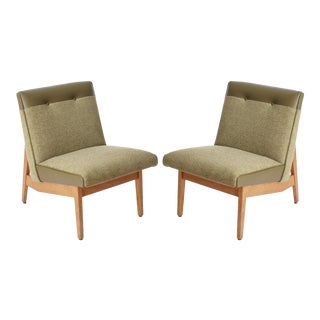 Mid-Century Danish Teak Armless Lounge Chairs - A Pair