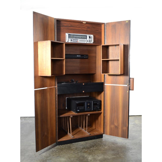 Walnut Richard Thompson Stereo Cabinet or Bar by Glenn of California For Sale - Image 7 of 11