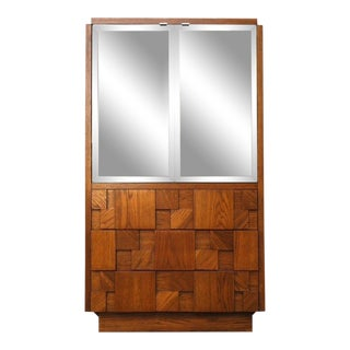 The Staccato by Lane Mid Century Brutalist Armoire Manner of Paul Evans For Sale