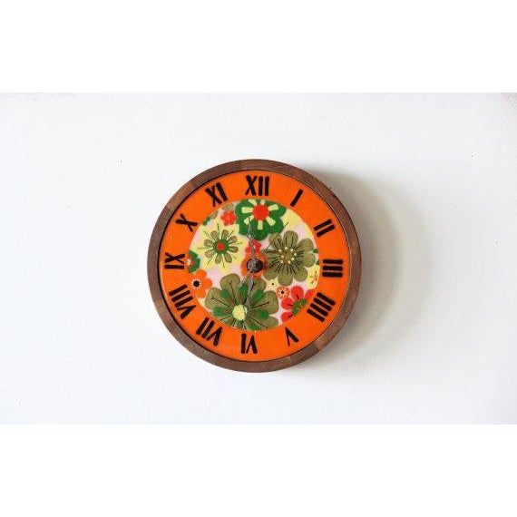 Italian Pottery & Teak Wall Clock - Image 2 of 4