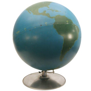 Rare 1940s Hand-Painted World Globe For Sale