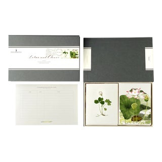 """""""Lotus and Clover"""" - Couplet Boxed Stationery - Folded Card Pair - Set of 10 For Sale"""