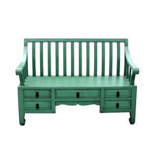 Green Asian Bench, Garden Settee For Sale