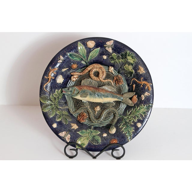 Ceramic Large Palissy Charger by Victor Barbizet, Circa 1875 For Sale - Image 7 of 11