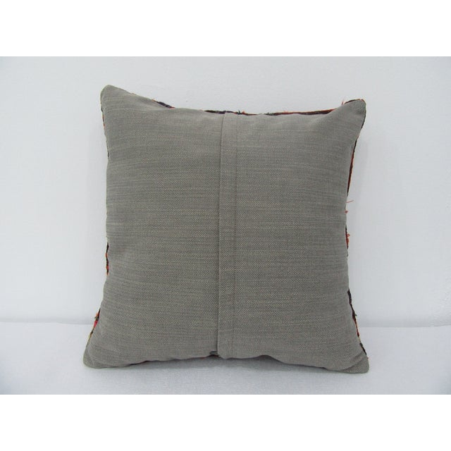 Contemporary Turkish Handmade Vintage Embroidered Kilim Pillow For Sale - Image 3 of 4