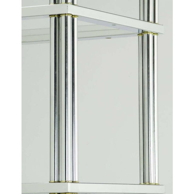 Metal Chrome And Brass Canopied Four-Shelf Etagere For Sale - Image 7 of 8