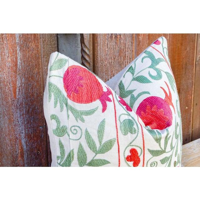Boho Chic Pomegranate & Green Ivy Uzbek Suzani Pillow For Sale - Image 3 of 10