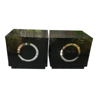 Faux Crocodile Black Nightstands - A Pair For Sale