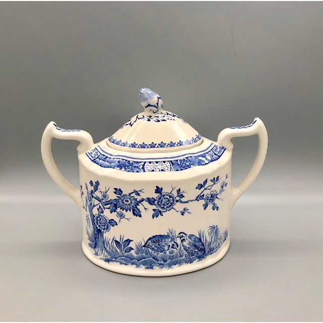 English Blue and White Furnivals Quail 1913 Pottery Teapot, Creamer and Sugar Bowl Set For Sale - Image 3 of 13